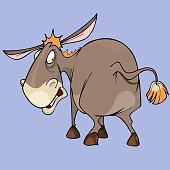 cartoon funny character puzzled donkey looking around
