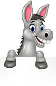 Cartoon funny donkey with blank sign