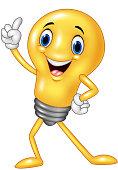 Cartoon funny light bulb pointing his finger