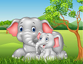 Cartoon funny Mother and baby elephant on jungle background