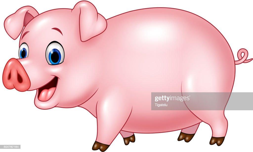 Cartoon funny pig isolated on white background