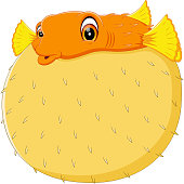 Cartoon funny puffer fish