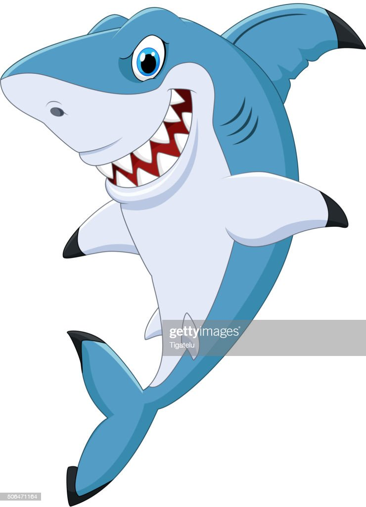 Cartoon funny shark posing