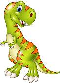 Cartoon funny tyrannosaurus isolated on white background
