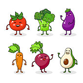 Cartoon funny vegetable characters. Happy food sticker, big collection. Carrot, tomato, broccoli.