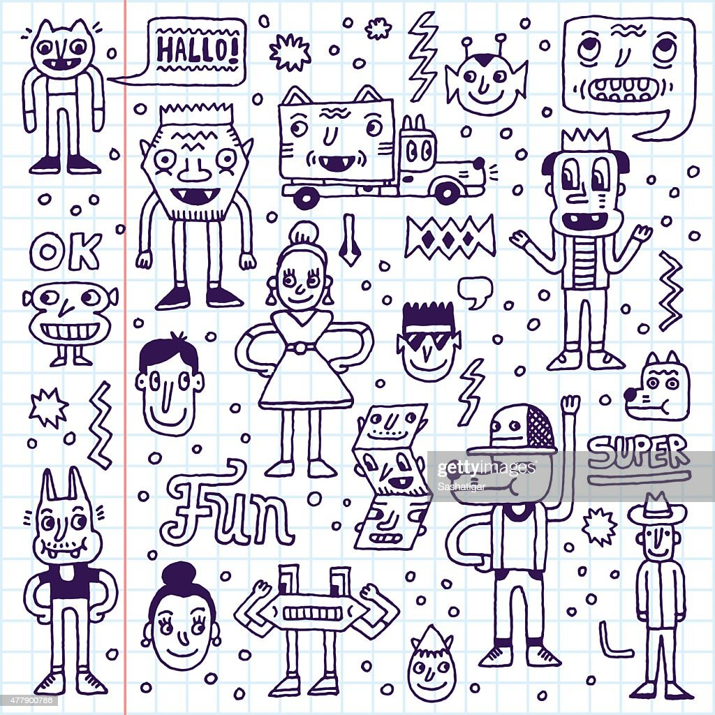 Cartoon funny wacky colorful doodle set 1. Vector illustration.