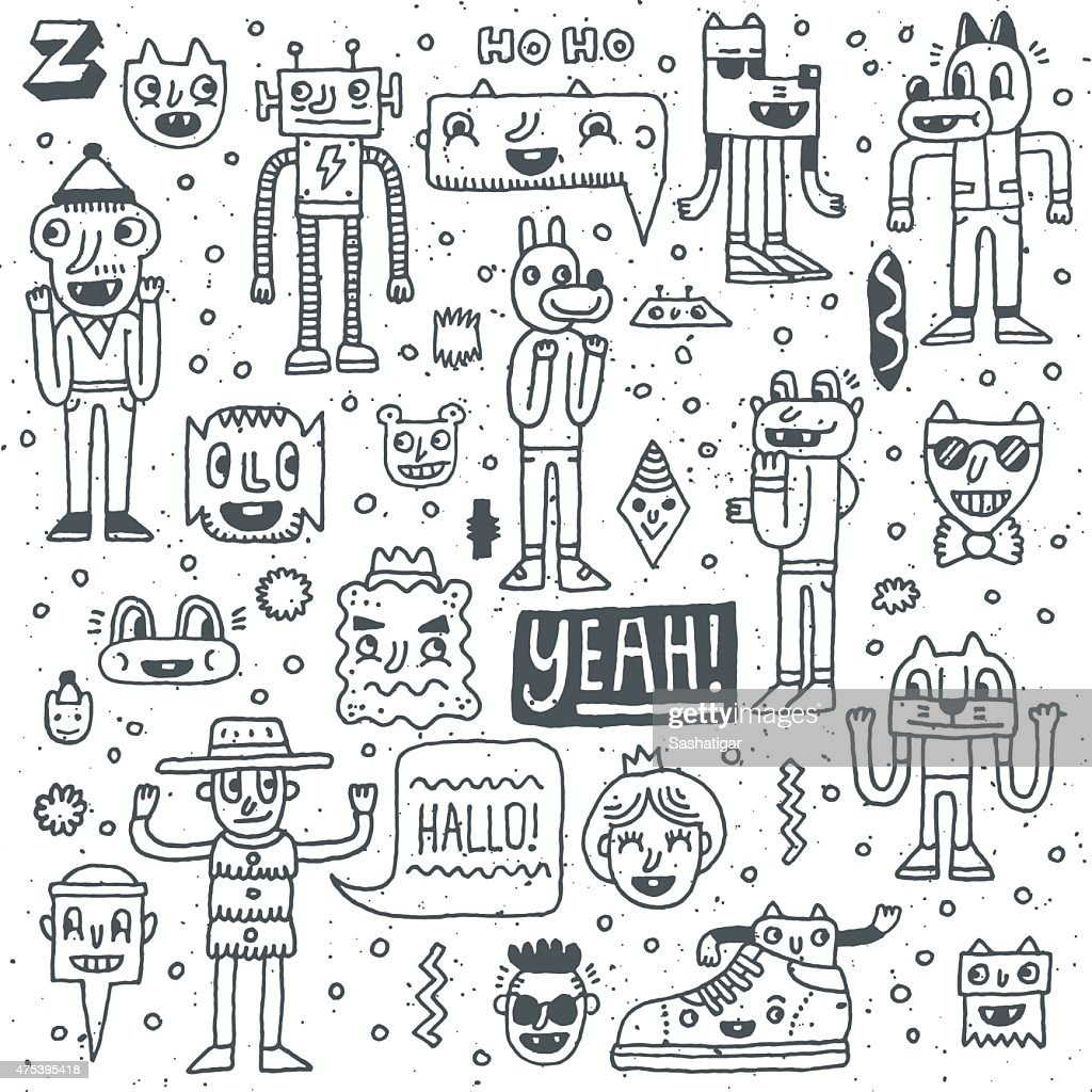 Cartoon funny wacky colorful doodle set 2. Vector illustration.