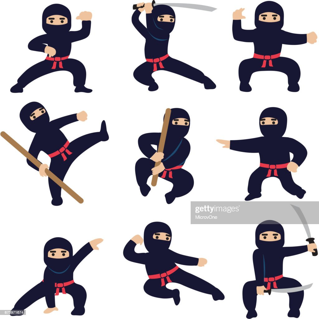 Cartoon funny warriors. Ninja or samurai vector characters