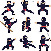 Cartoon funny warriors. Ninja or samurai vector characters