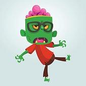 Cartoon funny zombie  Halloween vector illustration