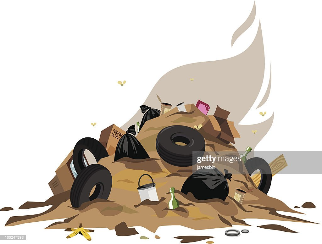Cartoon garbage pile on white background