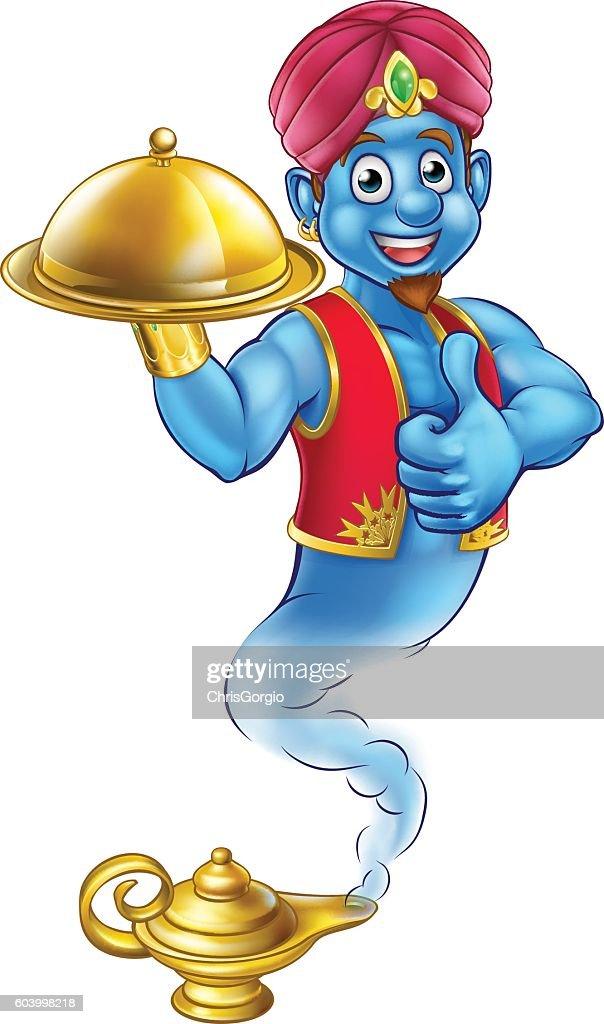 Cartoon Genie Serving Food