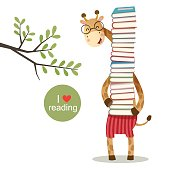 Cartoon giraffe holding a pile of books