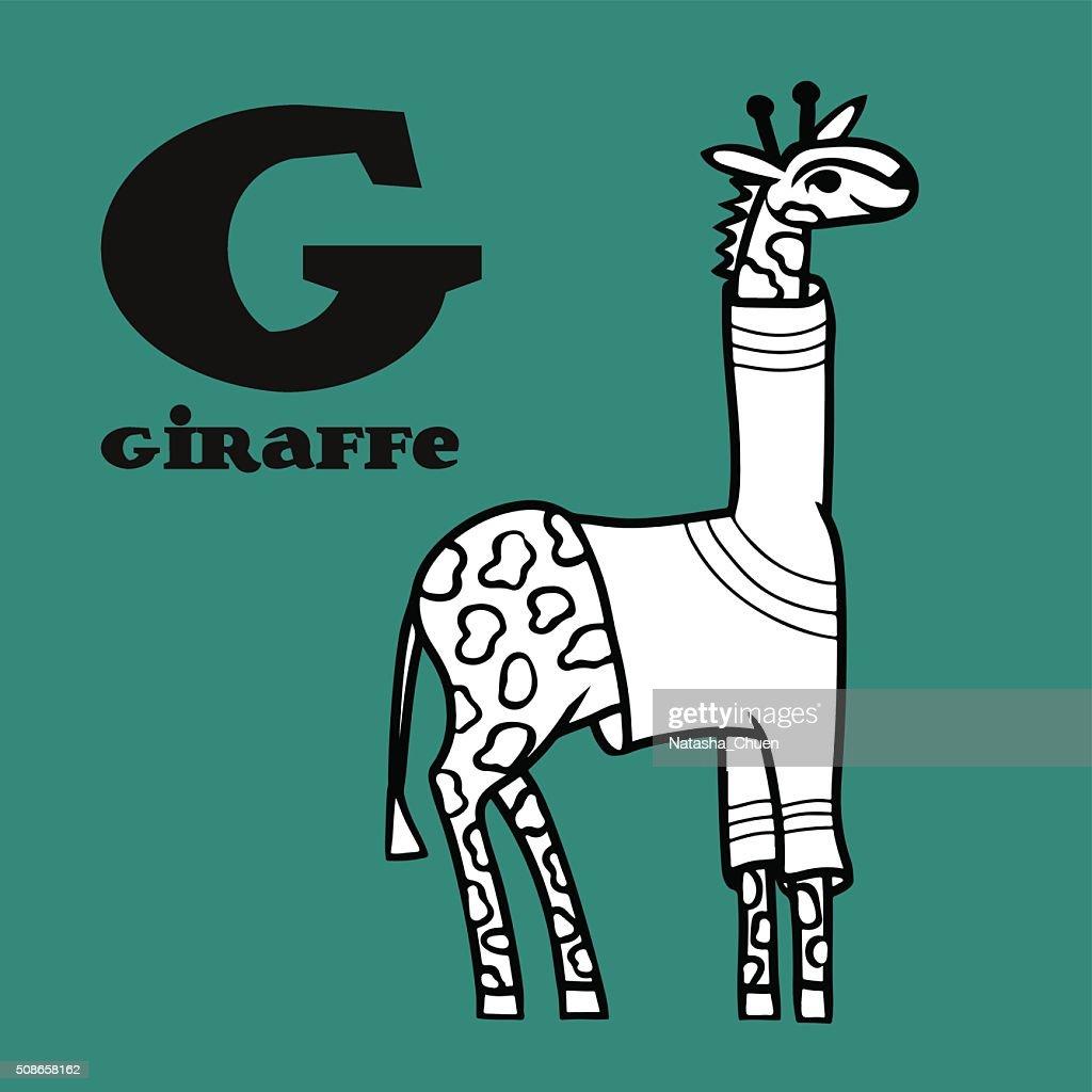 Cartoon giraffe in pullover with letter G. : Vector Art