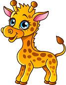 Cartoon giraffe isolated vector illustration