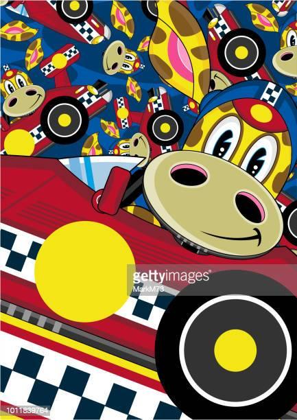 Cartoon Giraffe Racing Car Driver Pattern