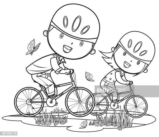 ilustraciones, imágenes clip art, dibujos animados e iconos de stock de dibujos animados de los niños y niñas en bicicleta - manzanilla