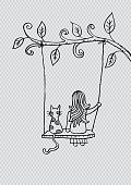 Cartoon girl and cat swinging on branch.