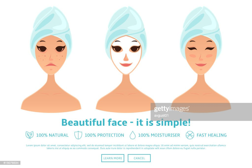 Cartoon girl care her face and applying natural mask