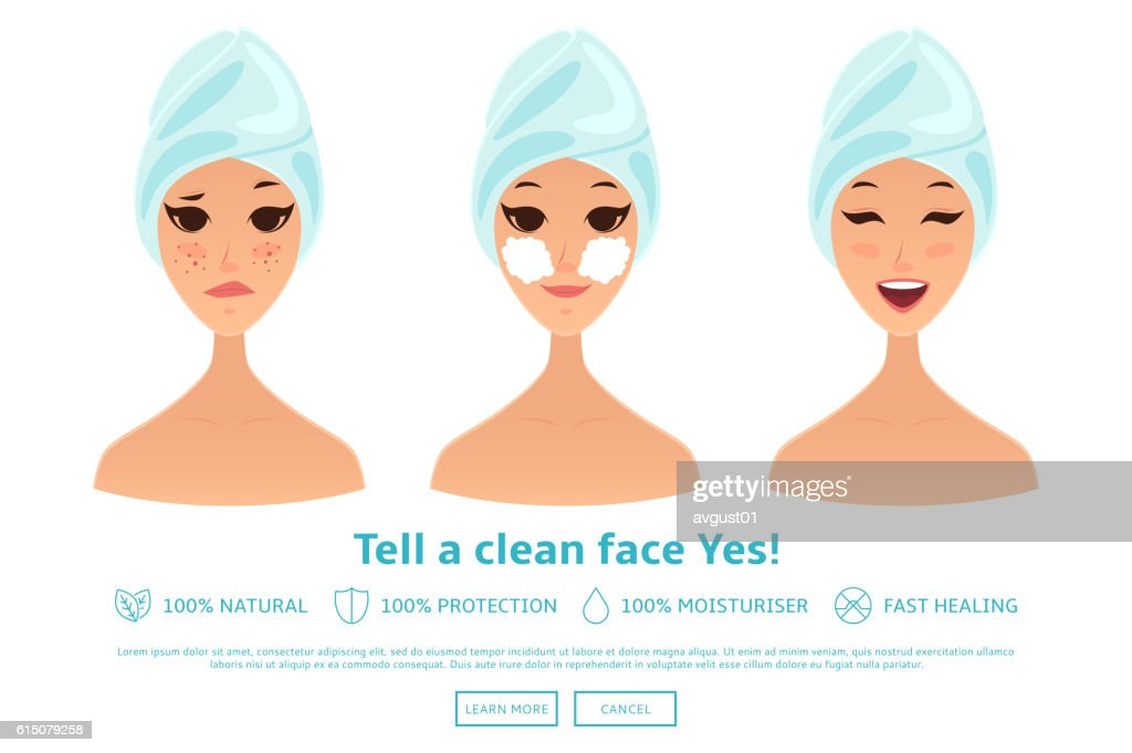 Cartoon girl cleaning and care face