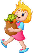 Cartoon girl holding paper bag of groceries with healthy vegetables