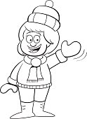 Cartoon girl in snowsuit waving.