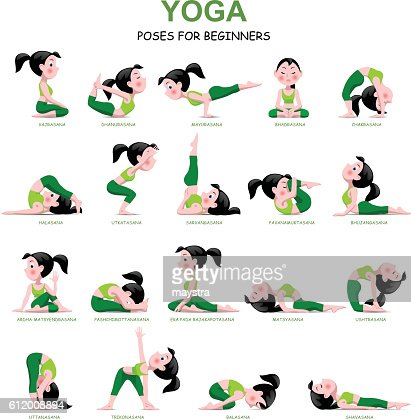 cartoon girl in yoga poses with titles highres vector