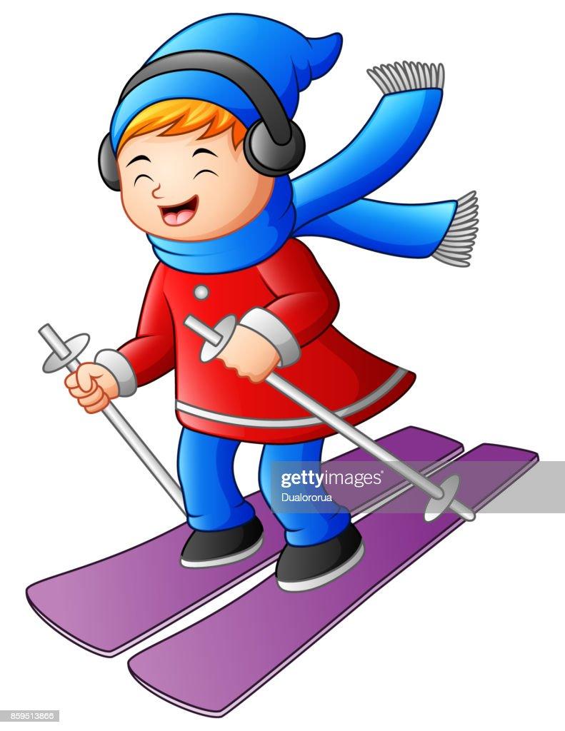Cartoon girl skiing with a headphones