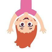 Cartoon girl upside down