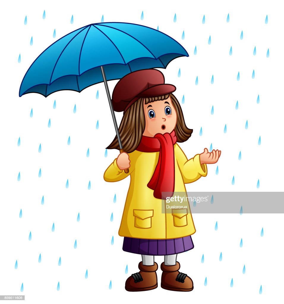 Cartoon girl with umbrella standing under the raindrops