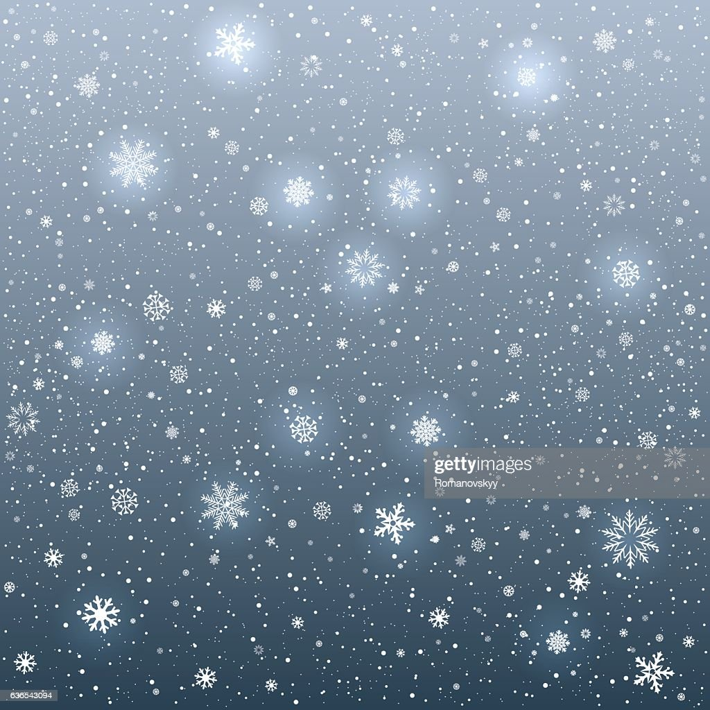 cartoon glowing snowflakes light