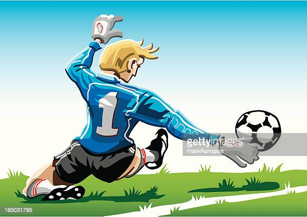 cartoon goalkeeper blue - defender soccer player stock illustrations