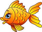 Cartoon gold fish isolated vector illustration