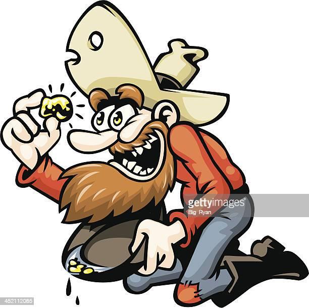 cartoon gold miner - gold rush stock illustrations