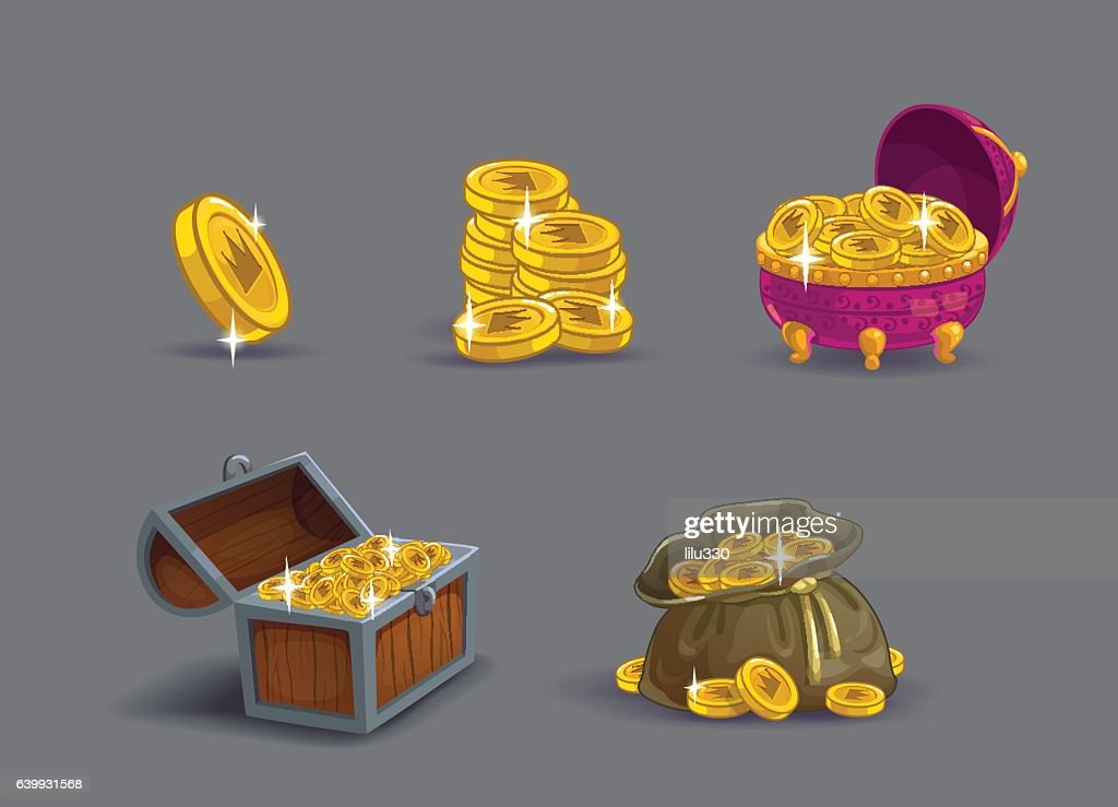 Cartoon golden coins icons set.