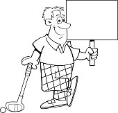 Cartoon golfer holding a sign while leaning on a golf club.