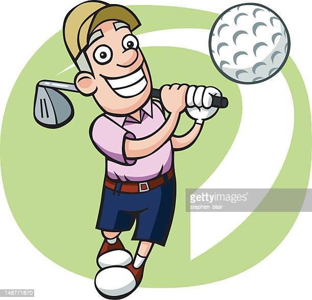 cartoon golfer - stehen stock illustrations