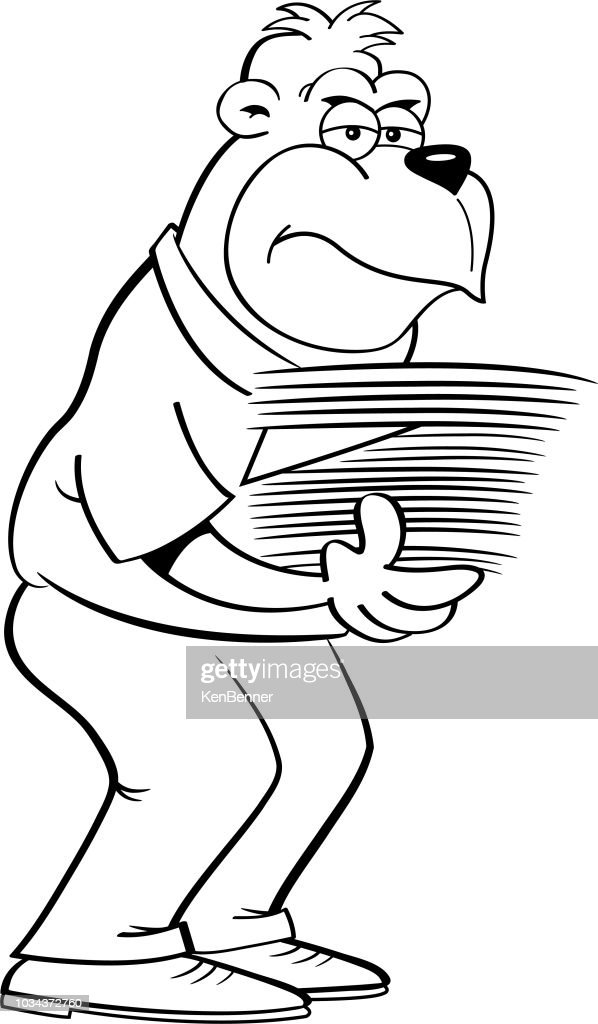Cartoon gorilla holding an armload of papers.