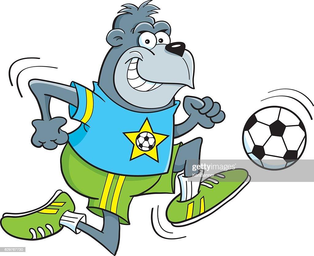 Cartoon gorilla playing soccer.