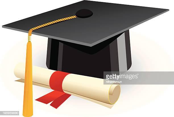 ilustraciones, imágenes clip art, dibujos animados e iconos de stock de tapa de graduación y un diploma) - birrete
