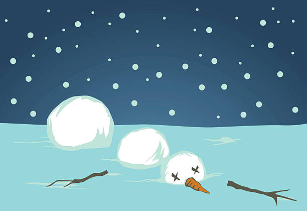 a cartoon graphic of a fallen disassembled snowman - melting stock illustrations
