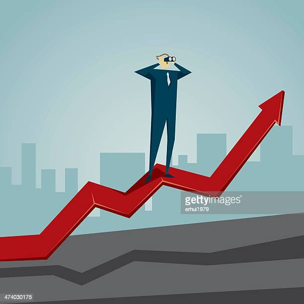 Cartoon graphic of man standing on red upwards arrow