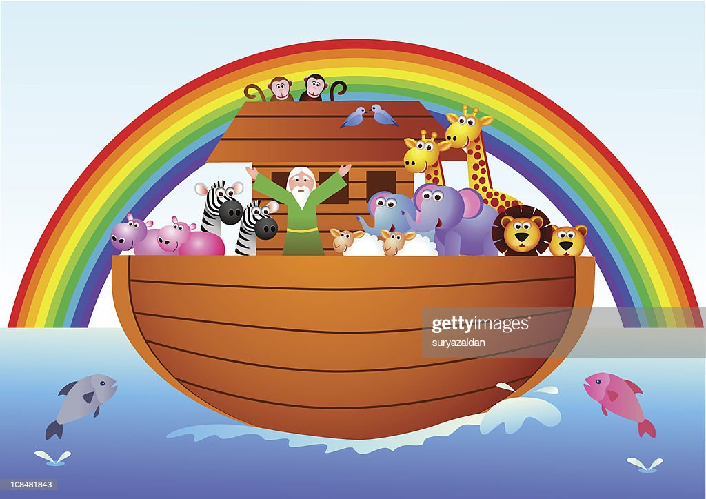 Cartoon graphic of Noah's Ark with rainbow and animals