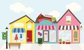 Cartoon graphic of three adjacent shops