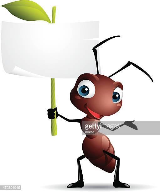 ilustrações, clipart, desenhos animados e ícones de desenho de gráficos de formiga segurando placa - inseto
