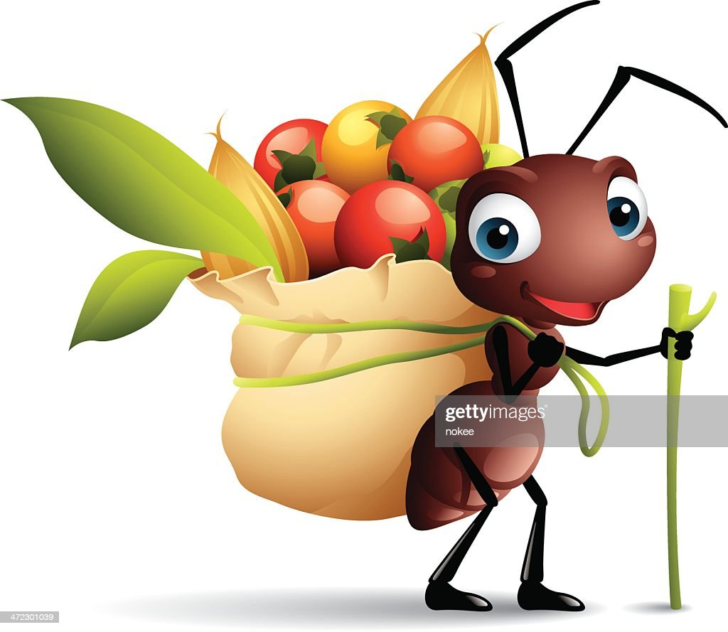 Cartoon graphics of ant with sack full of berries