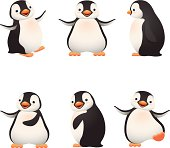 Cartoon graphics of baby penguins
