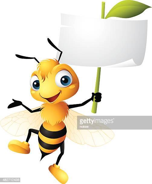 Gráficos de historieta de abeja sosteniendo señal