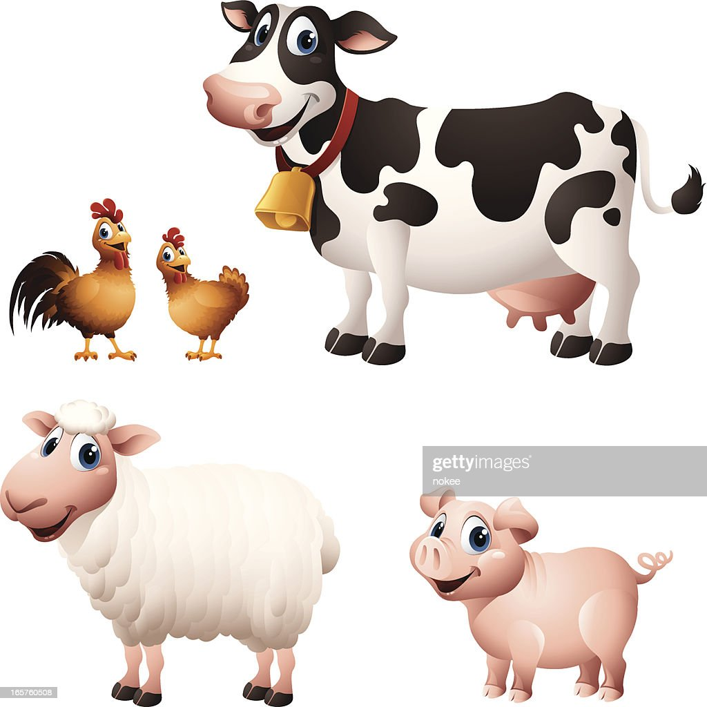 Cartoon graphics of chicken, cow, sheep and pig