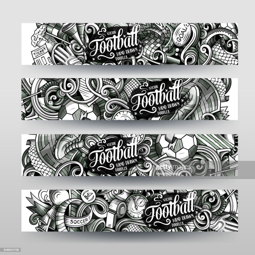 Cartoon graphics vector hand drawn doodles Football banners design.